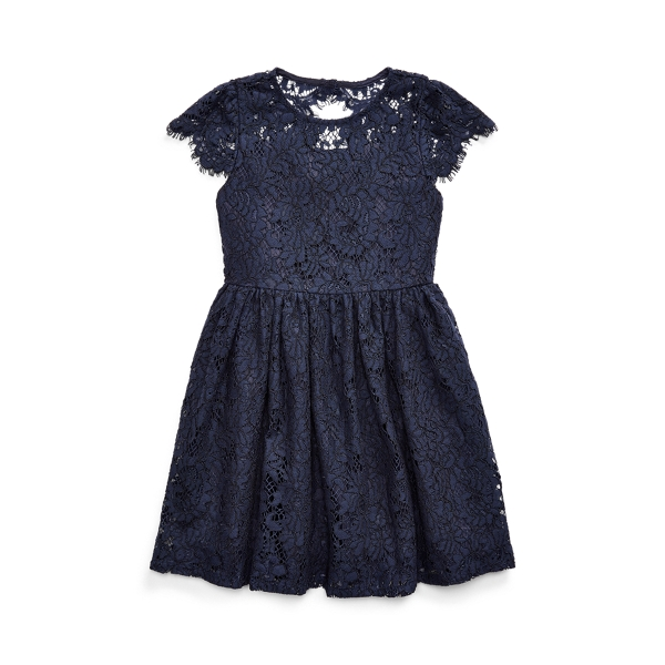 폴로 랄프로렌 여아용 원피스 Polo Ralph Lauren Lace Fit-and-Flare Dress,French Navy