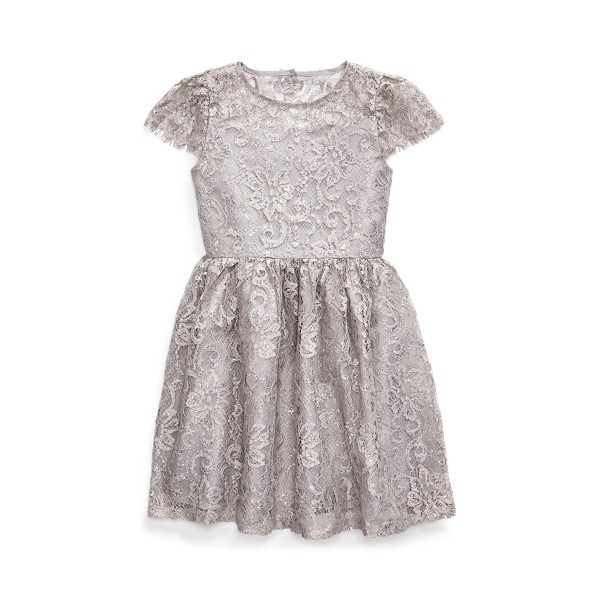 폴로 랄프로렌 여아용 원피스 Polo Ralph Lauren Metallic Lace Dress,Platinum
