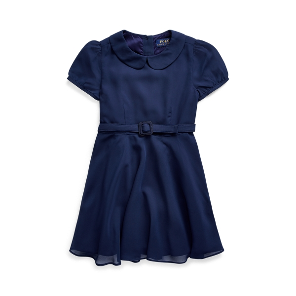 폴로 랄프로렌 여아용 원피스 Polo Ralph Lauren Belted Chiffon Dress,French Navy
