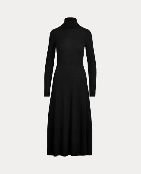 Vestido de lana con cuello vuelto