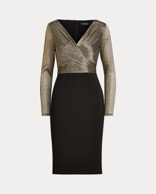 Metallic Bodice Jersey Dress by Ralph Lauren