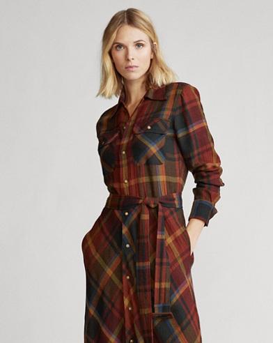Plaid Wool Shirtdress