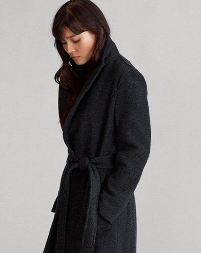 Wool-Blend Wrap Coat