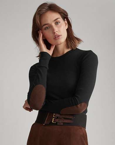 Elbow-Patch Rib-Knit Top