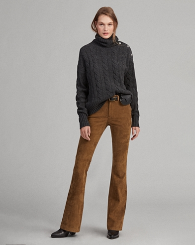 Lamb-Suede Flare Pant