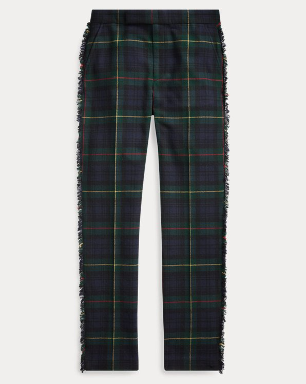 Fringe-Trim Wool-Blend Trouser
