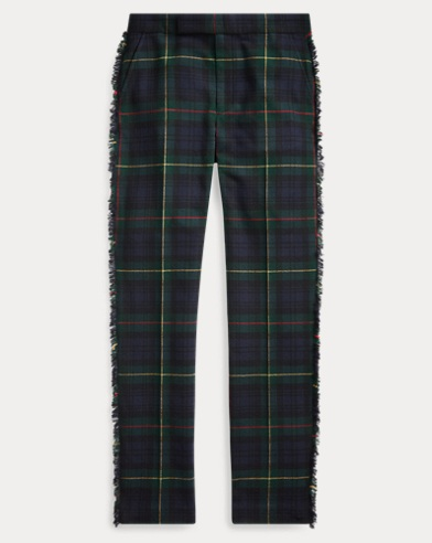 Fringe-Trim Wool-Blend Trouser