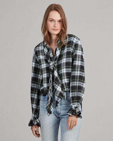 Plaid Necktie Cotton Shirt