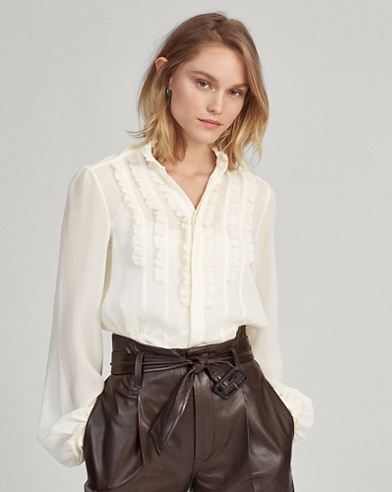 Ruffle-Trim Silk Shirt