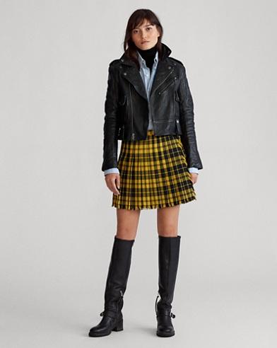 Pleated Wool-Blend Miniskirt
