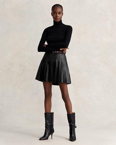 Pleated Lambskin Miniskirt