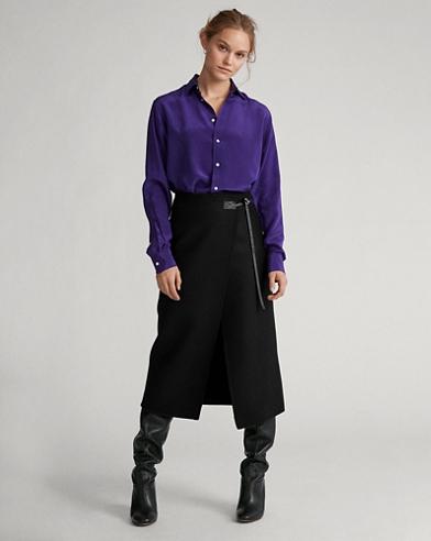 Wool-Blend Wrap Skirt