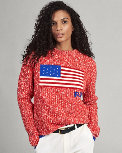 Flaggen-Pullover aus Wollmischung