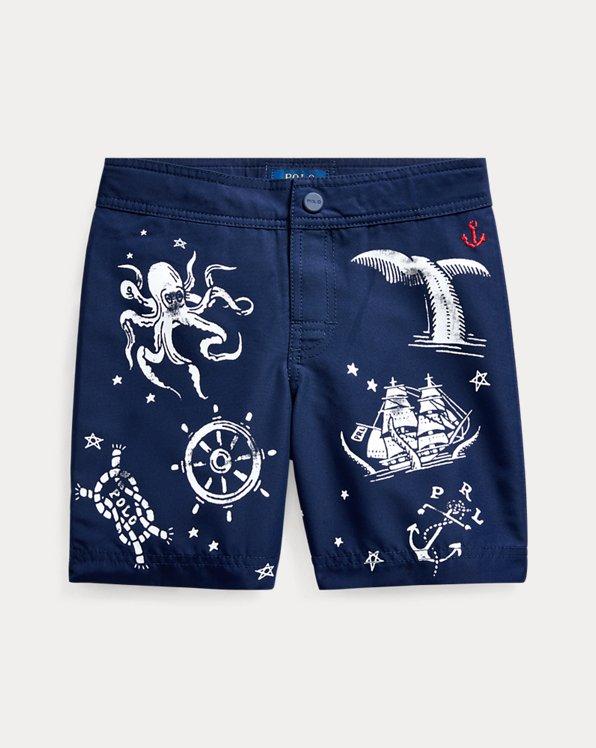 Nautical-Print Swim Trunk