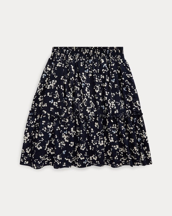 Floral Tiered Cotton Skirt