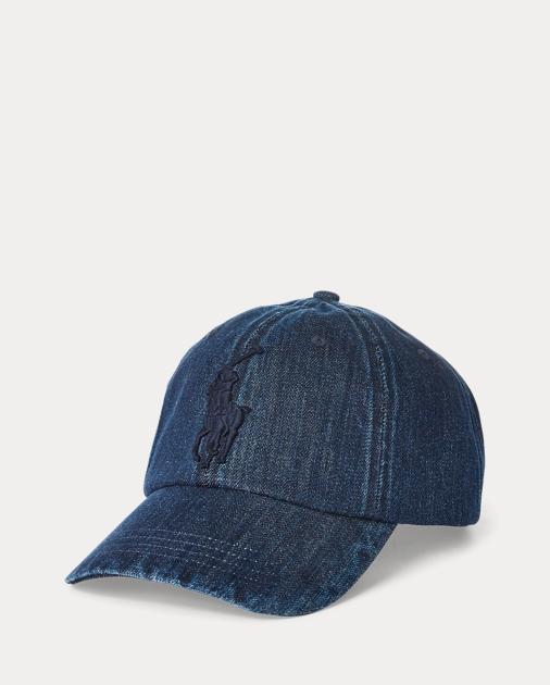 0614dda5eddd75 Polo Ralph Lauren Denim-Baseballkappe mit Big Pony 1