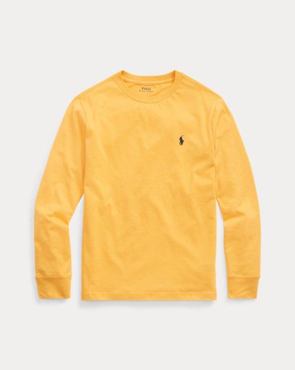 Camiseta de punto de algodón con cuello redondo