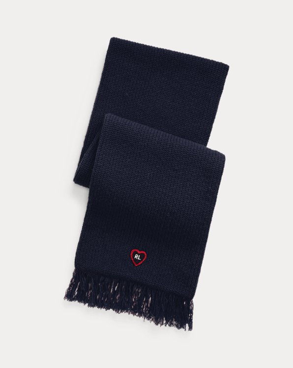 Heart-Patch Wool-Blend Scarf