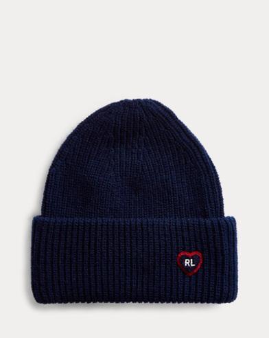 Heart-Patch Knit Hat