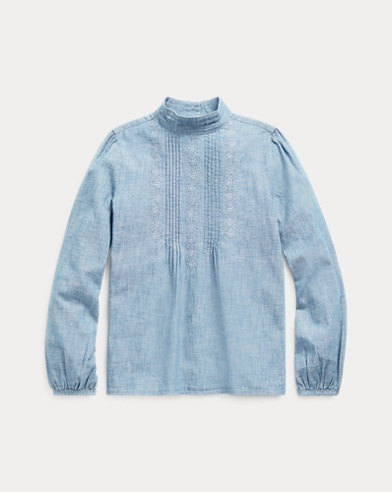 Pintucked Cotton Chambray Top