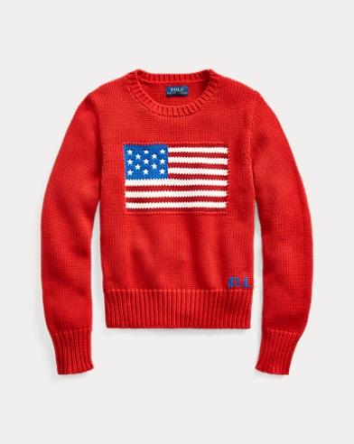 Baumwollpullover mit Flagge