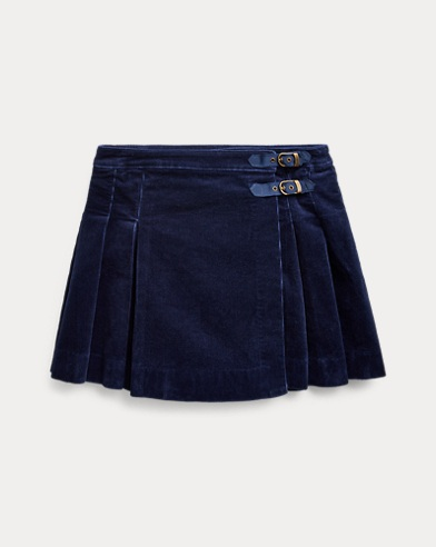 Pleated Corduroy Wrap Skirt