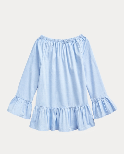 GIRLS 7-14 YEARS Cotton Oxford Bell-Sleeve Top 2