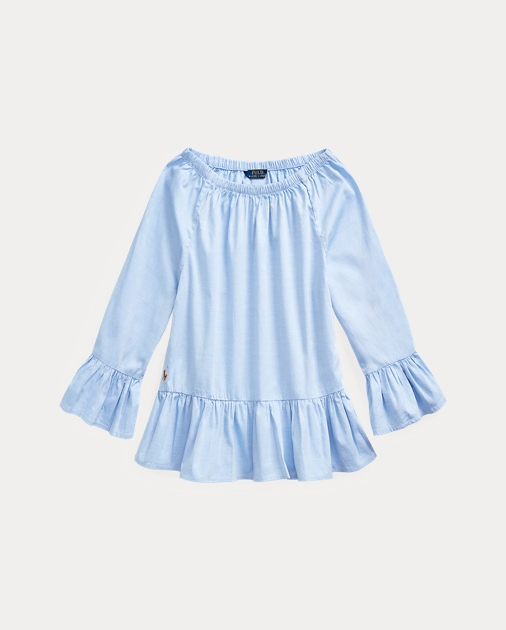 GIRLS 7-14 YEARS Cotton Oxford Bell-Sleeve Top 1