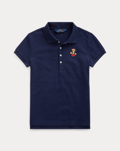 School Bear Stretch Mesh Polo