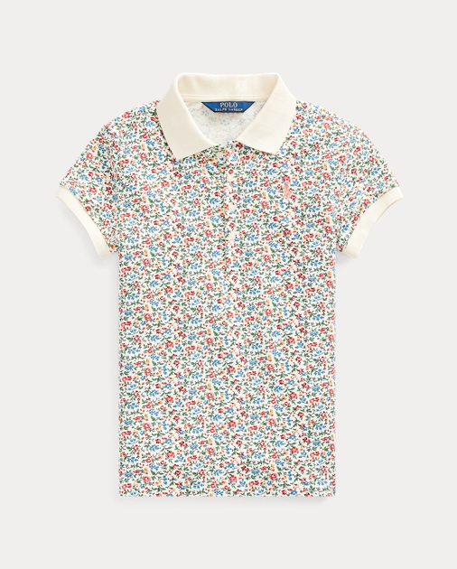 Girls 7-16 Floral Stretch Mesh Polo 1