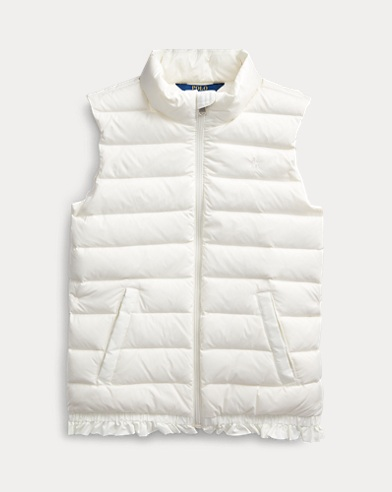 Quilted Ruffled-Hem Down Gilet