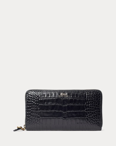 Crocodile-Print Leather Wallet
