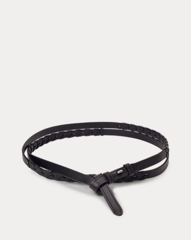Whipstitched Leather Tie Belt