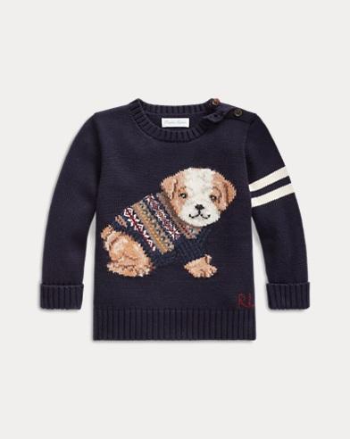 Baumwollpullover mit Hundemotiv