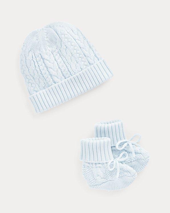 Aran-Knit Hat & Booties Set
