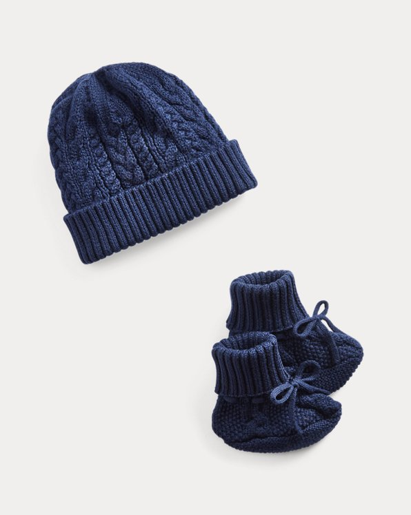 Aran-Knit Hat & Booties Set