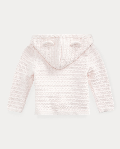 Baby Girl Bear-Hood Cotton Cardigan 2