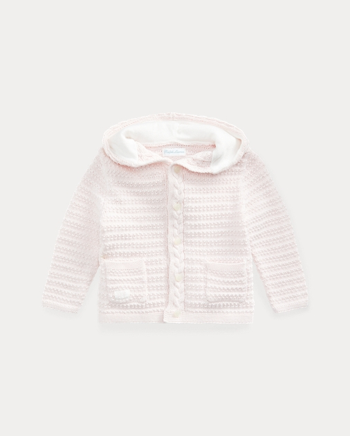 Baby Girl Bear-Hood Cotton Cardigan 1