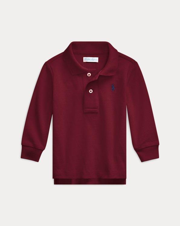 Cotton Mesh Long-Sleeve Polo Shirt
