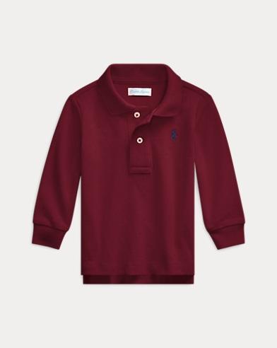Pique Long-Sleeve Polo Shirt