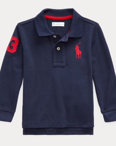 Pique Long-Sleeve Polo Shirt