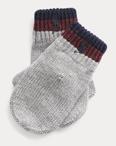 Striped-Cuff Wool Mittens