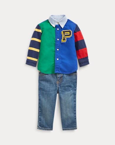 Conjunto de camisa de algodón, cinturón y vaqueros