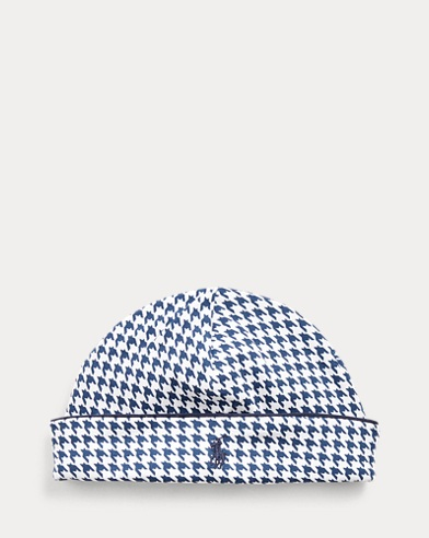Houndstooth-Print Cotton Hat