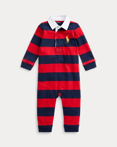 b855872bfed9 Striped Cotton Rugby Coverall. Baby Boy. Striped Cotton Rugby Coverall