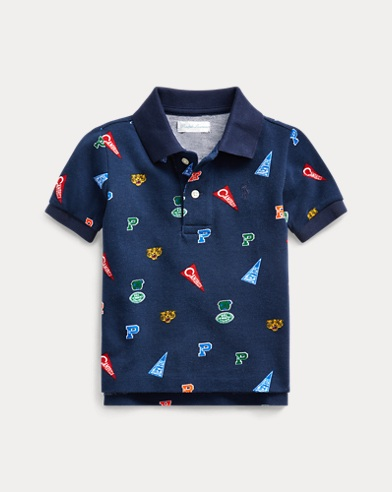 Pennant-Print Cotton Mesh Polo