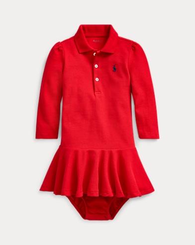 Stretch Cotton Mesh Polo Dress
