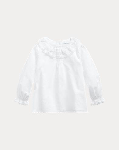 Ruffle-Collar Cotton Top