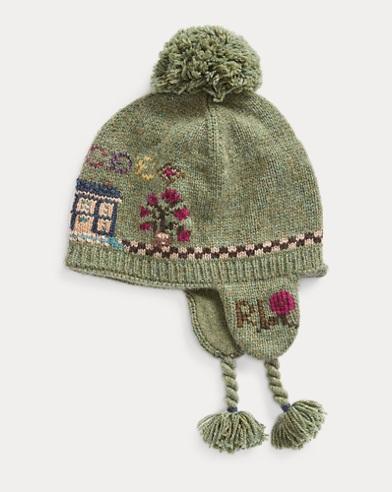 Intarsia-Knit Earflap Hat