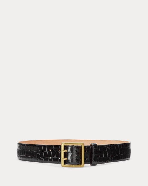 Crocodile-Stamped Leather Belt